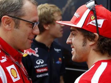 Stefano Domenicali y Fernando Alonso