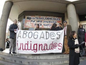 Abogados del juzgado de Plaza de Castilla, en las protestas de esta semana