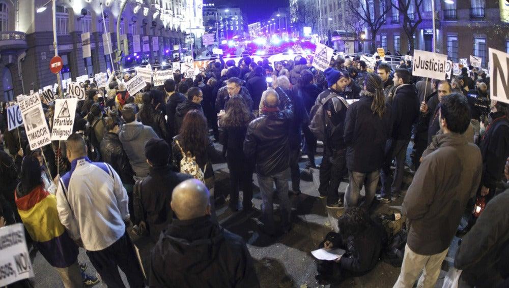 Protesta de la 'marcha fúnebre' en Madrid