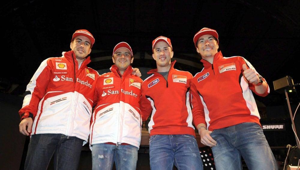 Alonso y Massa, junto a Dovizioso y Hayden
