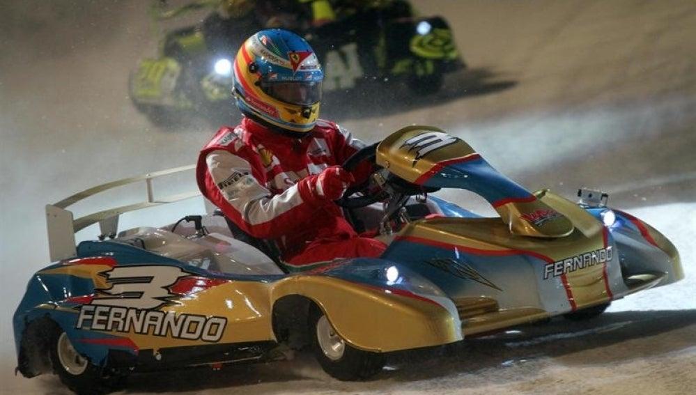 Fernando Alonso en un kart