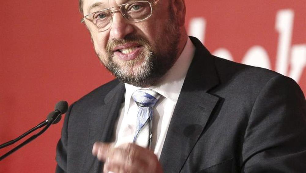 Martin Schulz durante su intervención en la cumbre que se celebra en Madrid