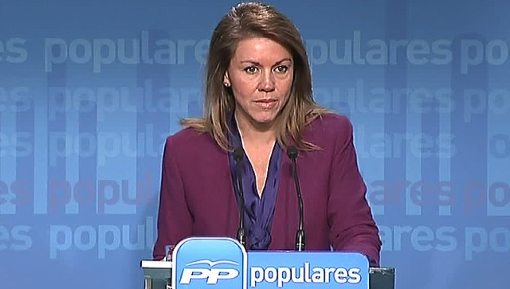 María Dolores de Cospedal, en rueda de prensa en la sede del PP