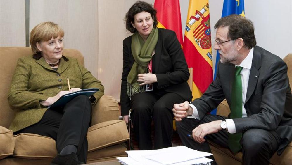 Angela Merkel y Mariano Rajoy, en la reunión previa a la cumbre de la UE