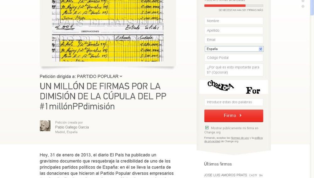 Pantallazo de la web en la que se pide la dimisión de Rajoy