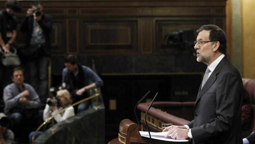 Rajoy compareciendo en el Congreso