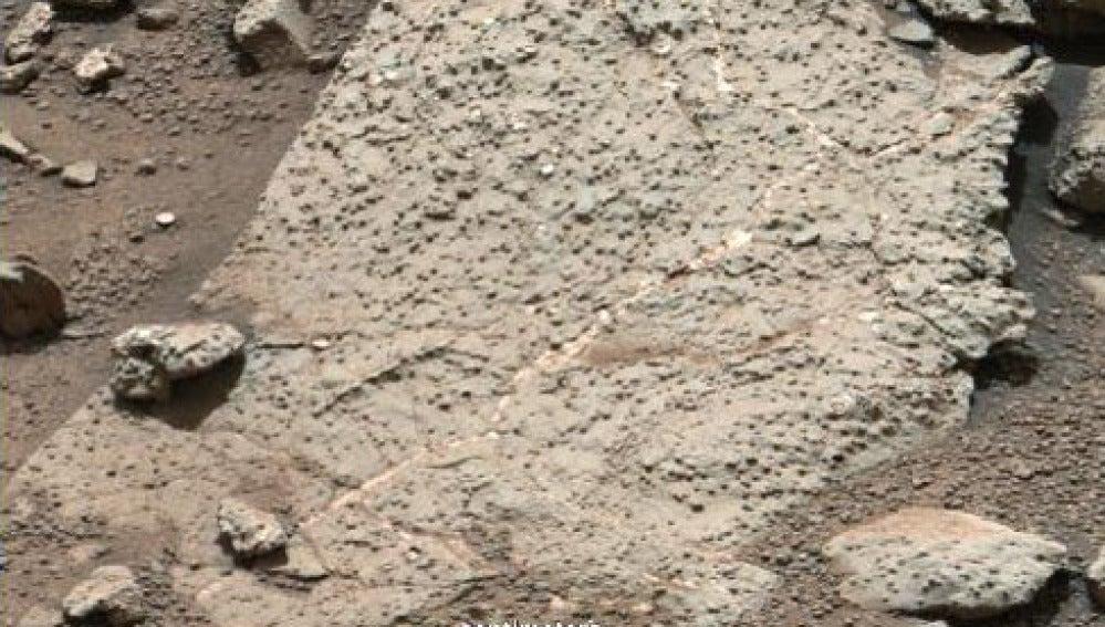 Rocas examinadas en la Bahía Yellowknife, en el cráter Gale