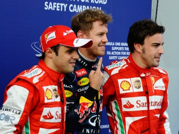 Massa, Vettel y Alonso tras la clasificación del GP de Malasia