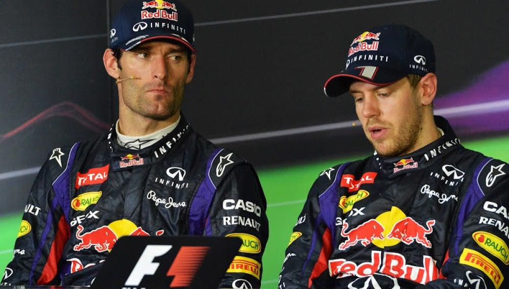 Webber y Vettel tras el GP de Malasia