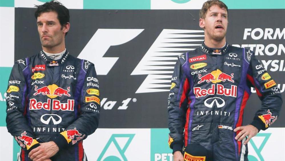 Sebastian Vettel y Mark Webber evitaron cruzarse las miradas en el podio de Malasia