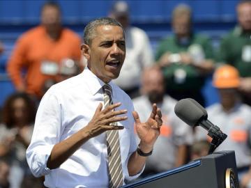 Obama durante un mítin