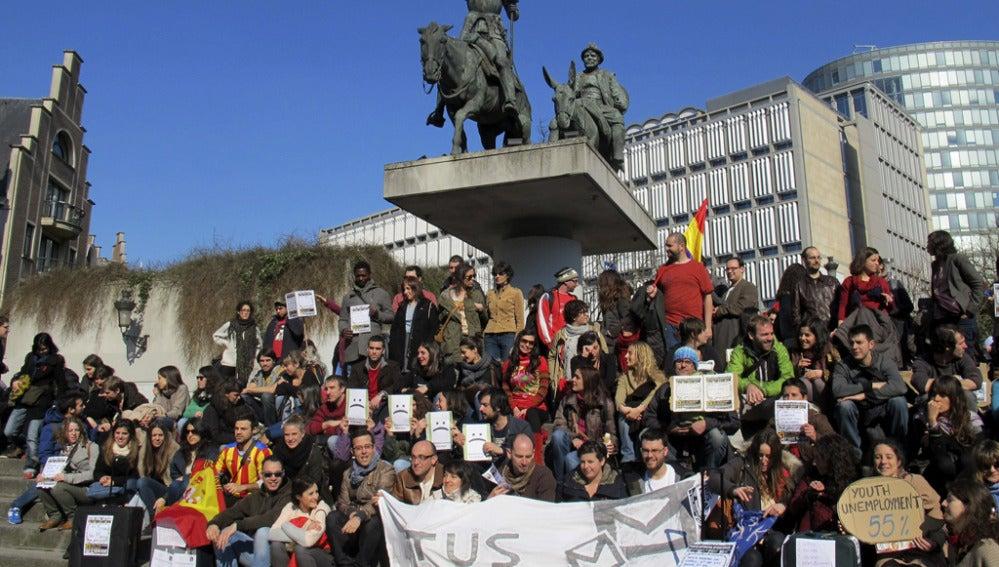 Manifestación en la Place d'Espagne de Bruselas