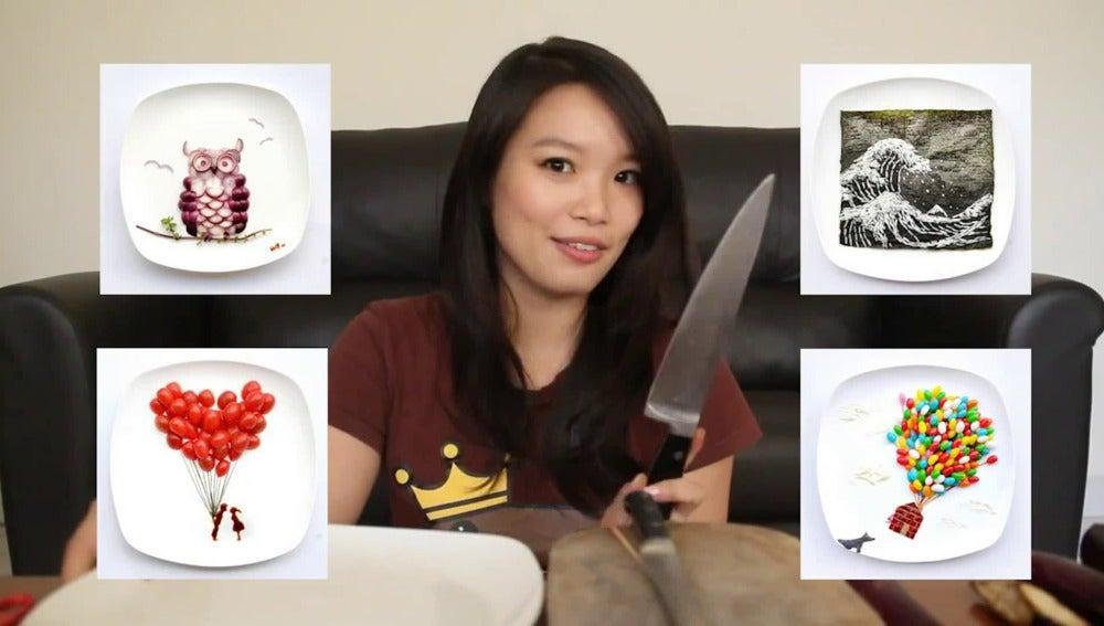La artista Hong Yi crea cuadros con comida