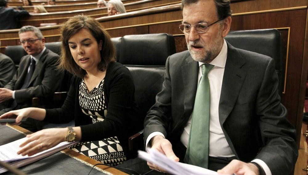 Rajoy junto a Santamaría