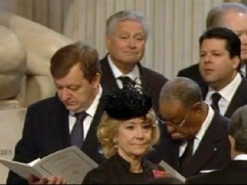 Esperanza Aguirre durante el funeral de Margaret Thatcher