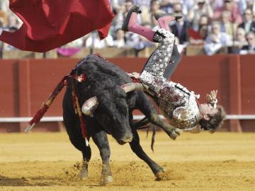 """""""El Juli"""" es cogido por el primer toro de su lote en la corrida de la Feria de Abril"""