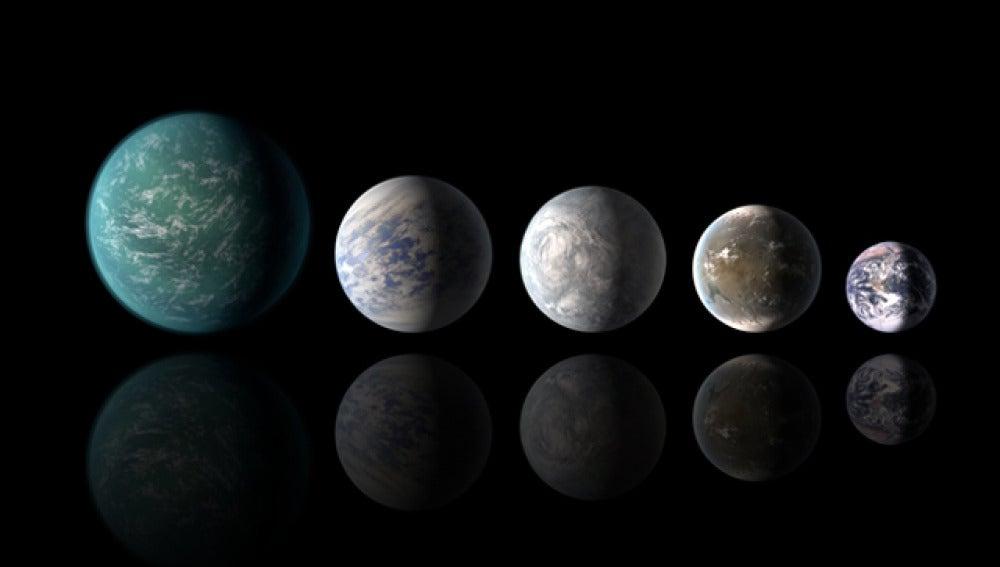 Tamaños relativos de los planetas habitables descubiertos