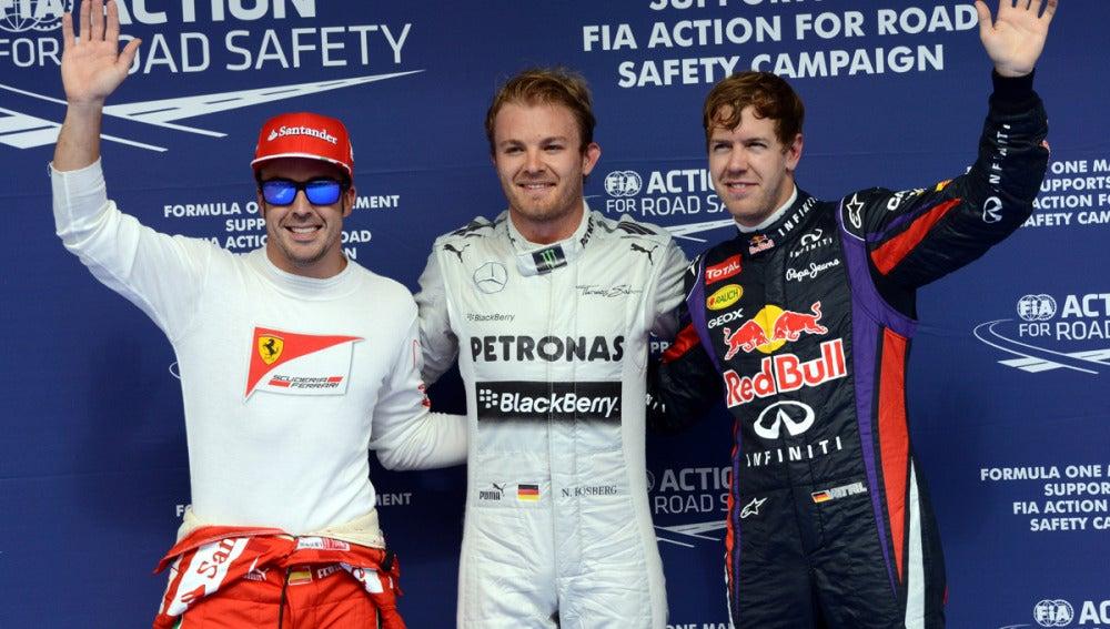 Rosberg, Vettel y Alonso en Sakhir