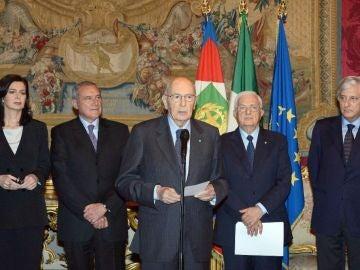 Giorgio Napolitano tras ser reelegido jefe de la República