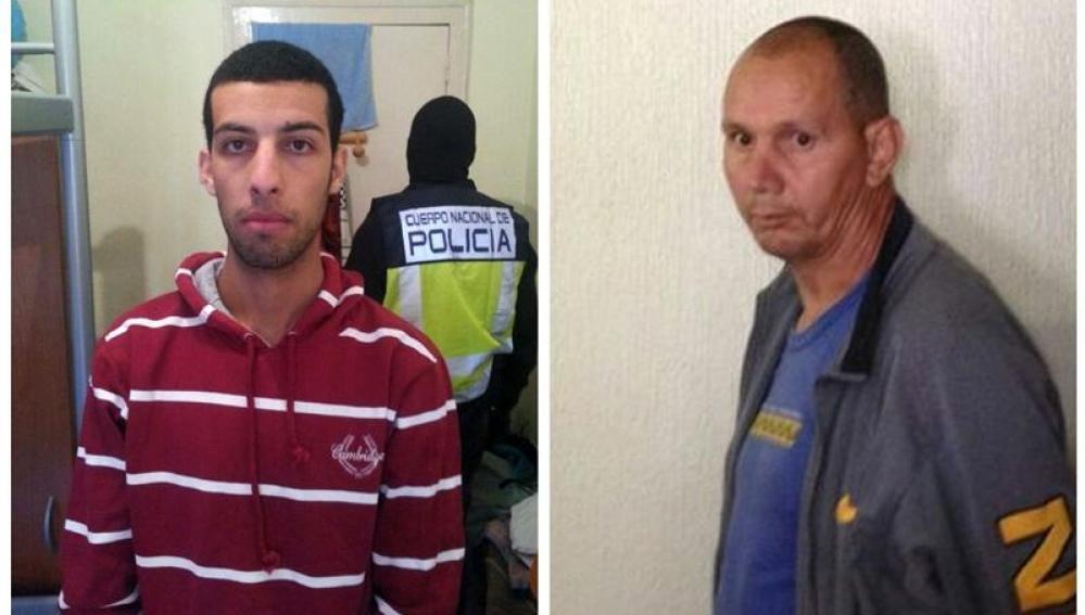 Fotos de Nou Mediouni, de origen argelino, detenido en Zaragoza y Hassan El Jaaouani, de origen marroquí, arrestado en Murcia