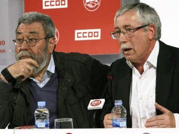 Cándido Méndez e Ignacio Fernández Toxo explican la movilización del 1 de mayo