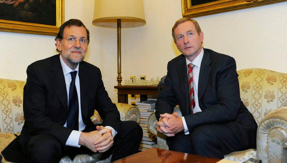 El presidente del Gobierno, Mariano Rajoy, junto al primer ministro de Irlanda, Enda Kenny