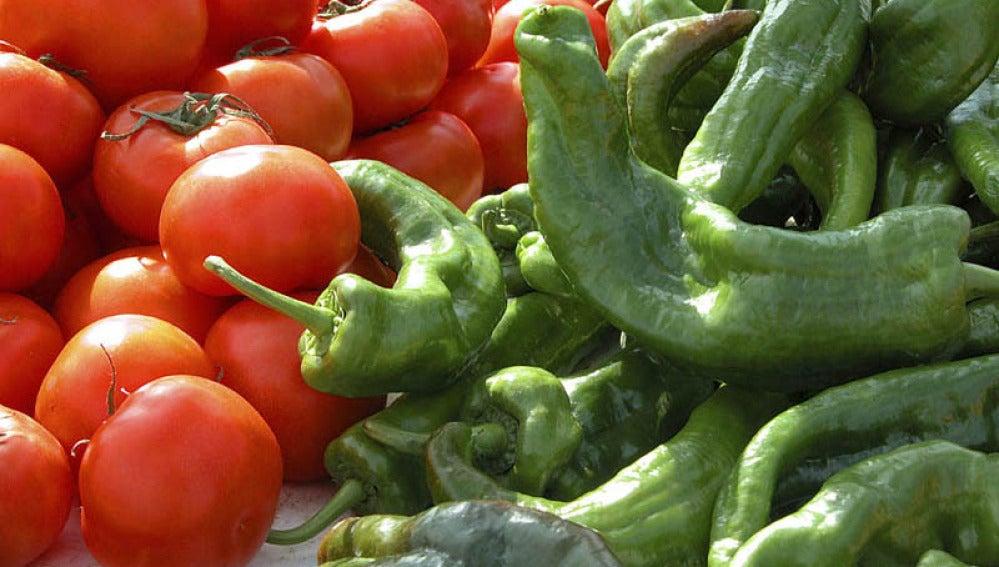 Selección de pimientos y tomates