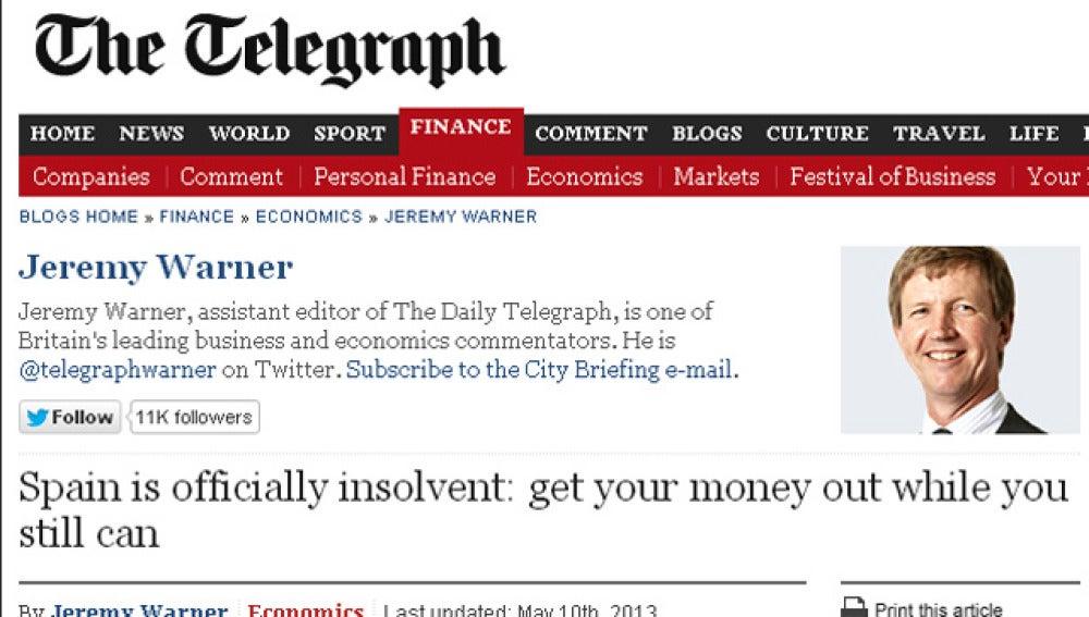 'The Telegraph' afirma que España es insolvente