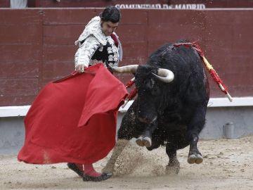 El diestro José Antonio 'Morante de la Puebla' da un pase con la muleta