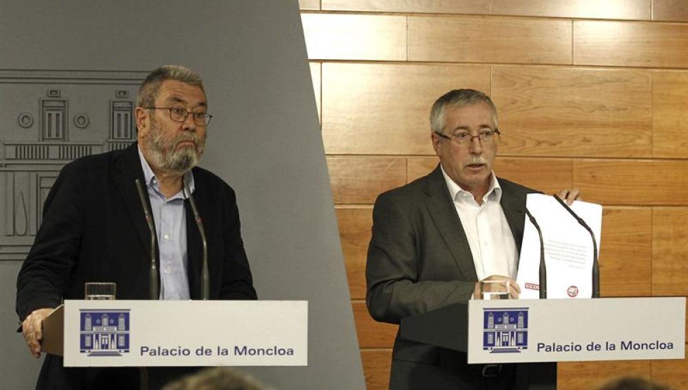 Los secretarios generales de UGT y CCOO, Cándido Méndez e Ignacio Fernández Toxo