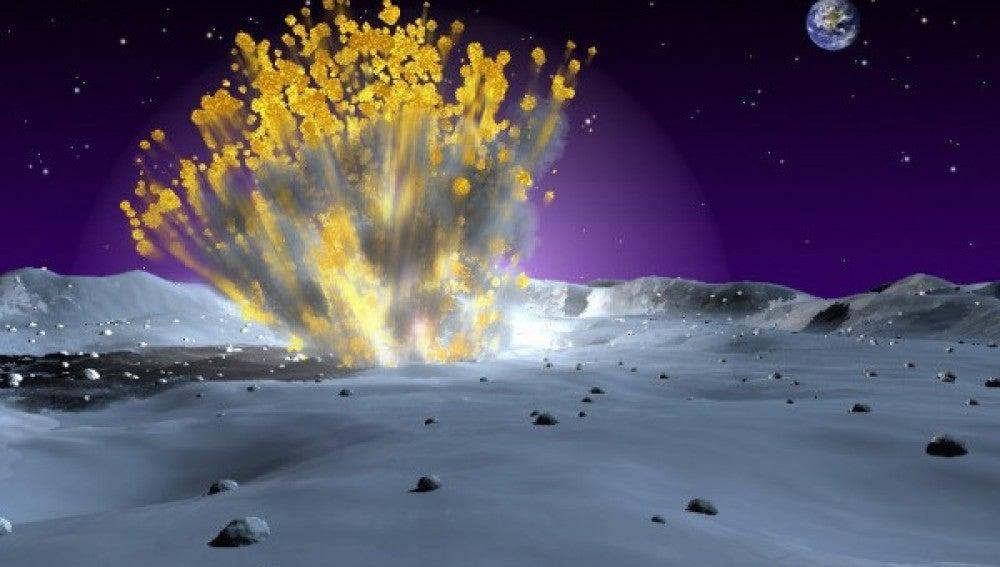 Recreación de la colisión del meteorito