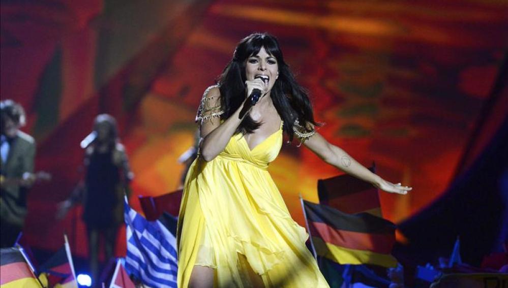'El Sueño de Morfeo' interpreta 'Contigo hasta el final' durante la final del Festival de Eurovisión