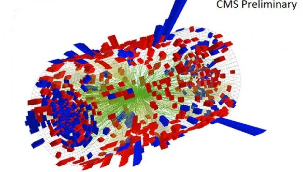 Vista tridimensional de una colisión p-Pb
