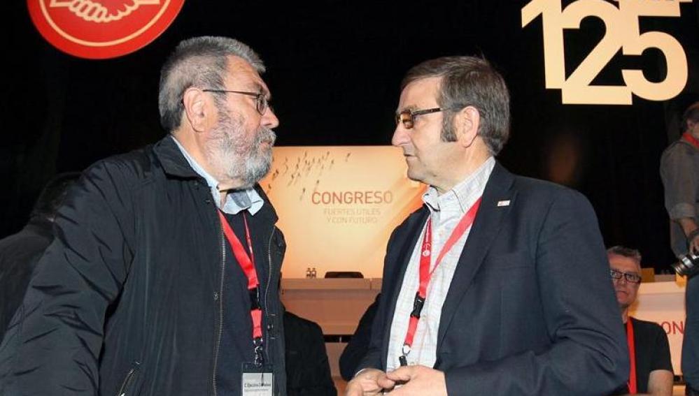 Los secretarios generales de UGT y UGT-Euskadi, Cándido Méndez y Dámaso Casado