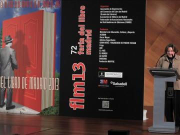 La presidenta de la Feria del Libro de Madrid, Pilar Gallego, durante la presentación