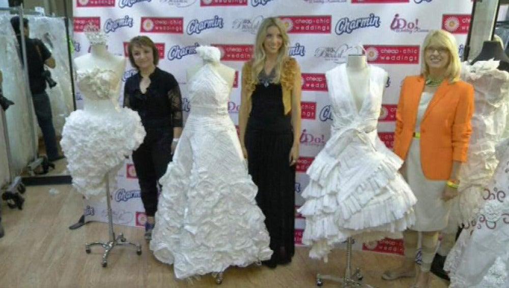una peluquera albanesa, ganadora de un concurso de vestidos de novia
