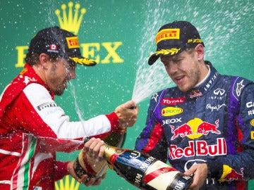 Alonso y Vettel en el podio