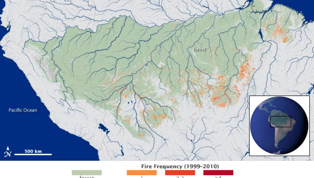 Imagen de la técnica satélite de la NASA para detectar incendios
