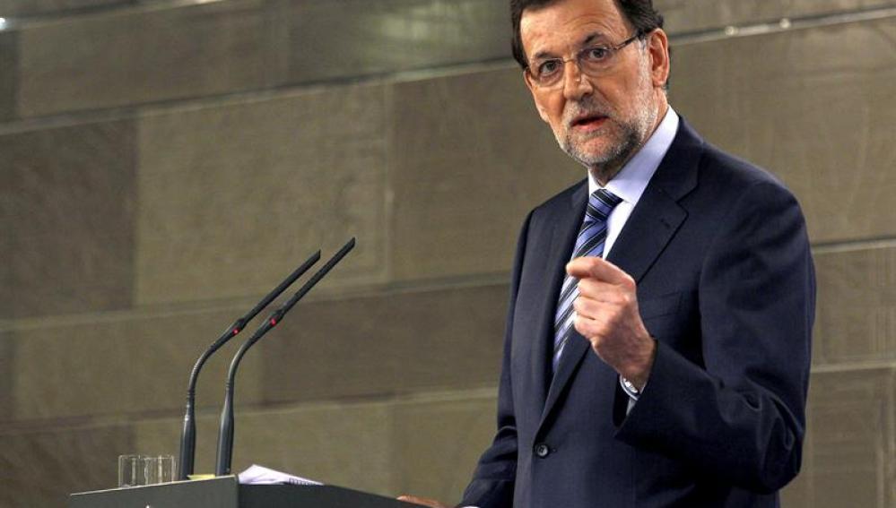 El presidente del Gobierno, Mariano Rajoy, comparece en La Moncloa