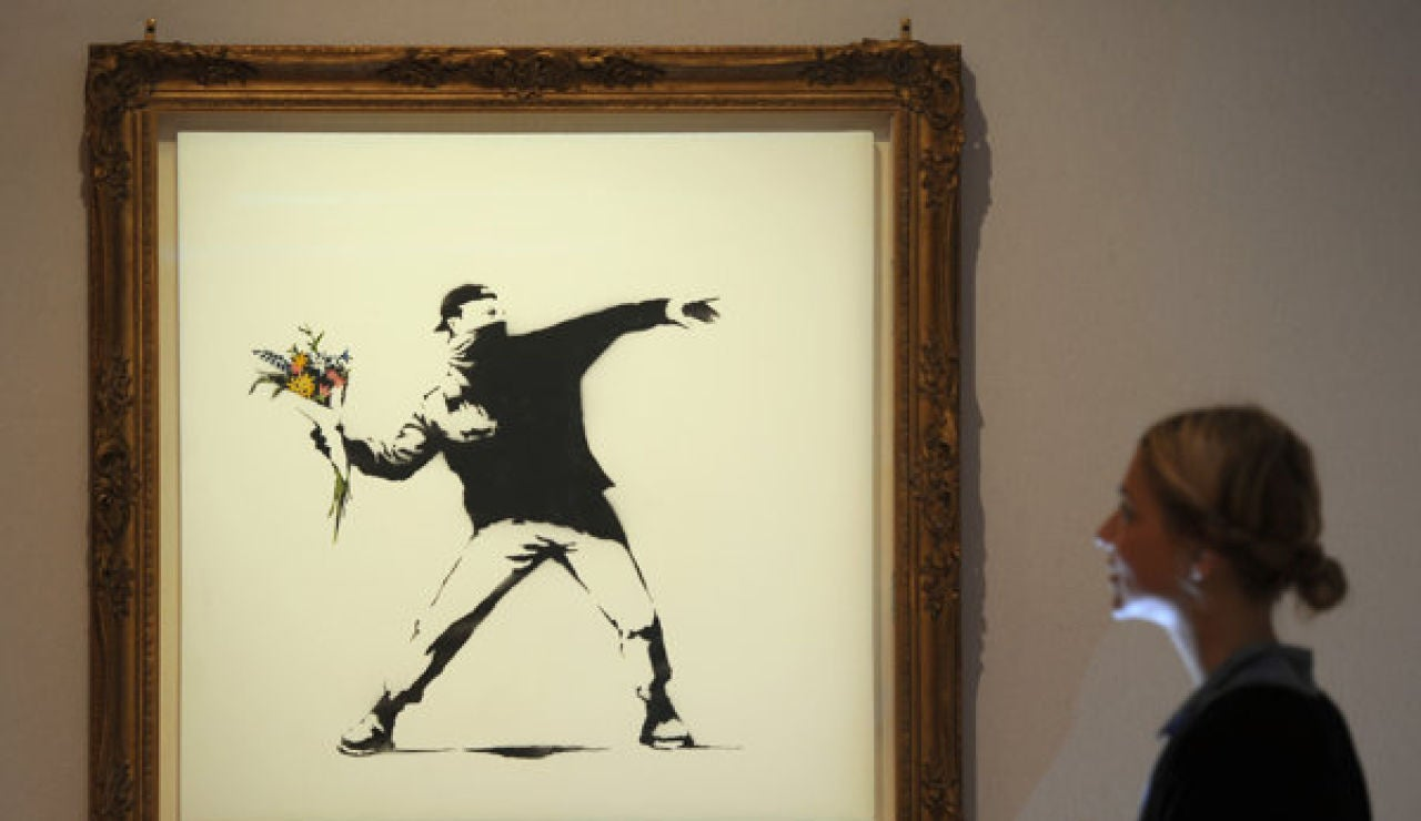 'Love is in the air' de Banksy