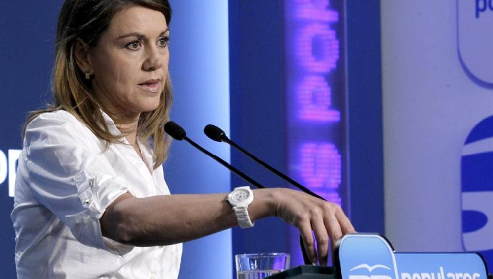María Dolores de Cospedal, en la sede del PP