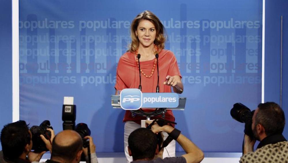 María Dolores de Cospedal, durante la rueda de prensa en la sede del PP
