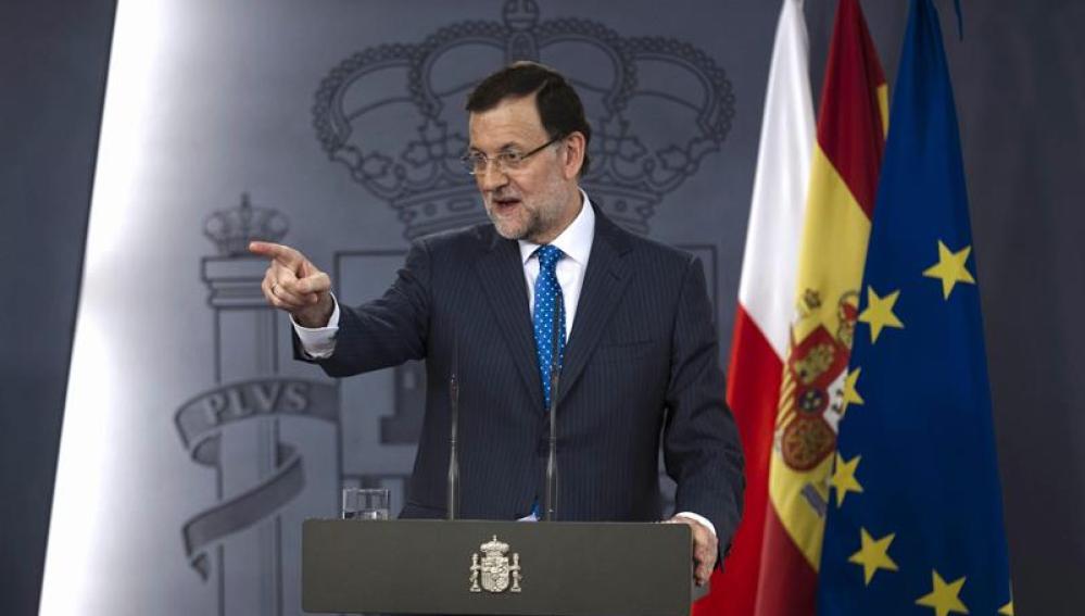 Mariano Rajoy en su comparecencia en Moncloa.
