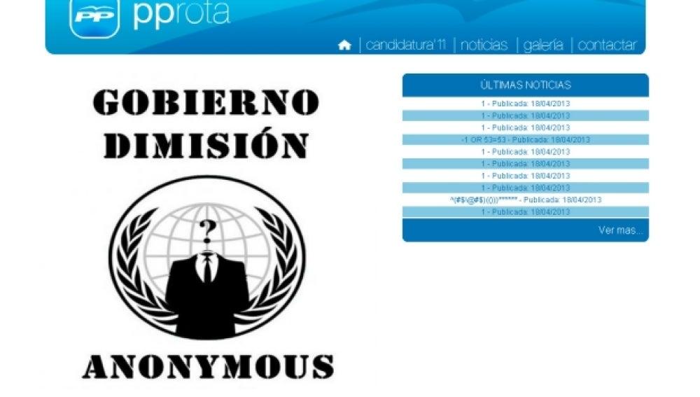 Página web del PP de la localidad de Rota hackeada por Anonymous