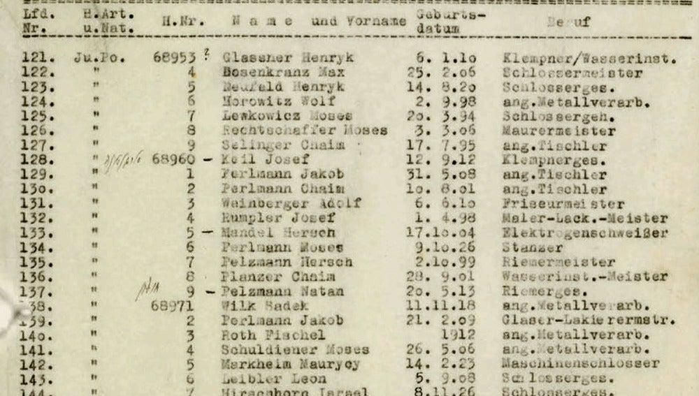 Fragmento de uno de los papeles de la lista de Schindler