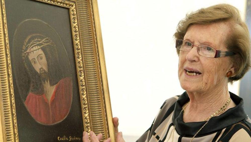 Cecilia Giménez pinta un eccehomo original para una botella de vino