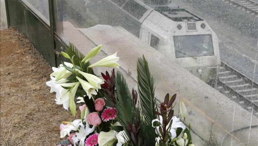 Flores junto a un tren en Santiago