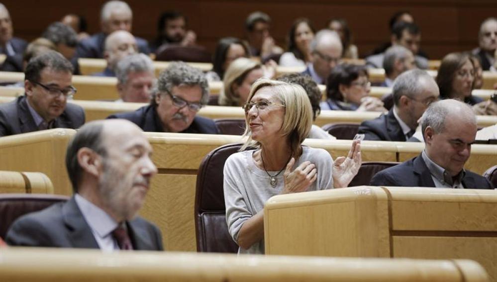 La portavoz de UPyD, Rosa Díez, durante la comparecencia del presidente del Gobierno
