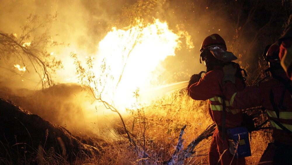 Agentes de la UME luchan contra el fuego en Cebreros, Ávila