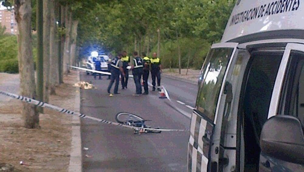 Muerte de un ciclista atropellado